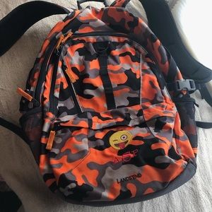 LANDS END ORANGE CAMO BACKPACK GREAT CONDITION
